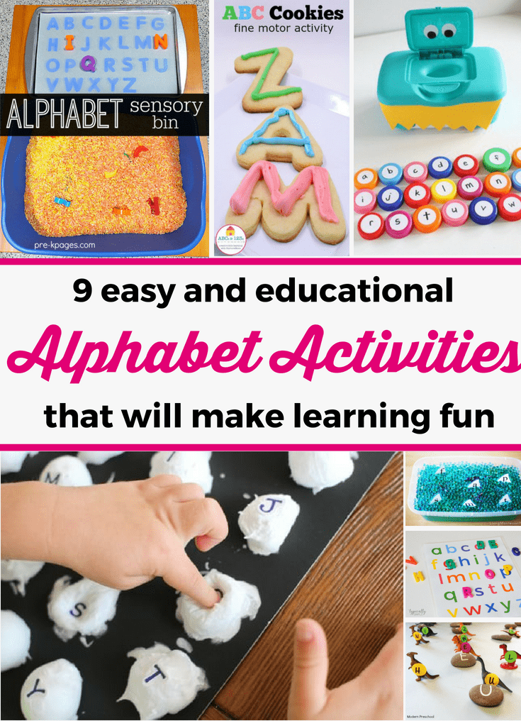Discover 9 easy and fun alphabet activities that your child will love! You can easily prepare them and they are great for teaching kids about the alphabet. --- Children activities | Alphabet activities for toddlers and preschoolers | Preschool activities | Home preschool | Alphabet activities for 3 year olds #ChildrenActivities
