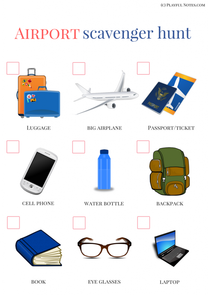 Keeping Kids Busy During Flights Airplane Scavenger Hunt