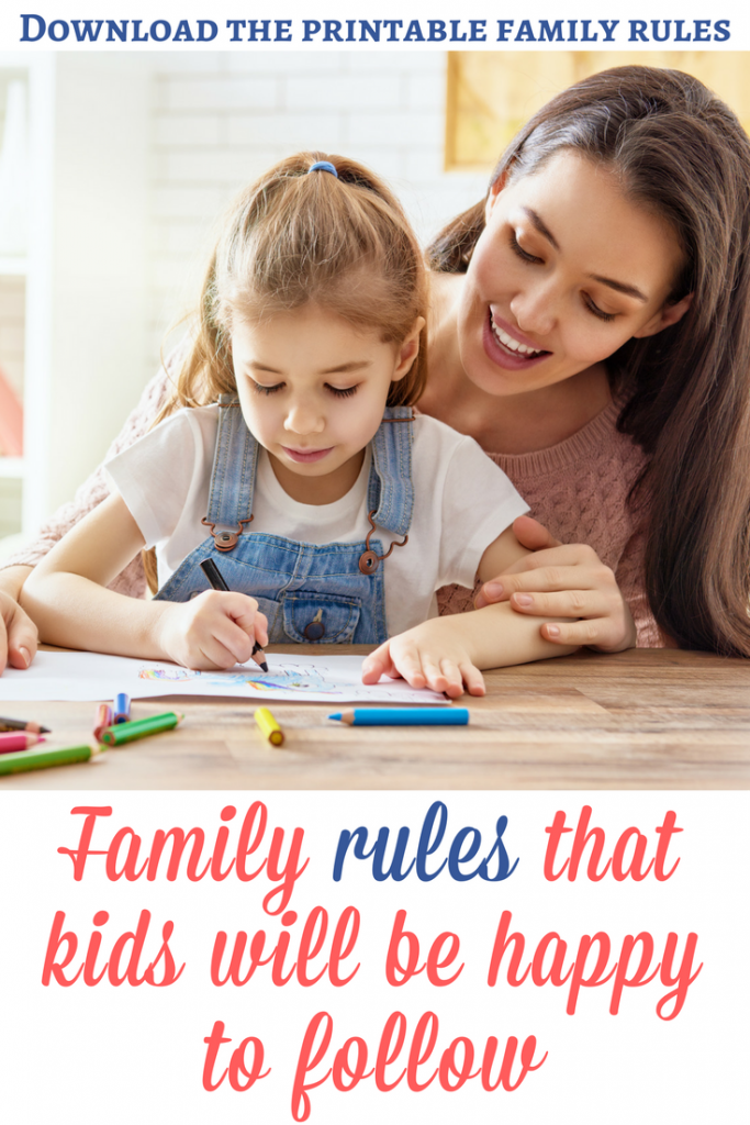 Family rules for kids: If you wonder how to create family rules that kids will be happy to follow, here are some tips to help you and a printable file for creating your own rules! | Family rules printable | Family rules for kids | DIY family rules