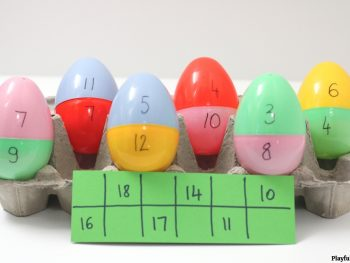 match game for kids using plastic eggs