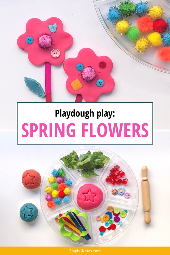 Playdough play: Spring flowers Discover 12 easy and fun spring activities for kids that you can quickly prepare for your little ones! - Children's activities | Spring activity ideas