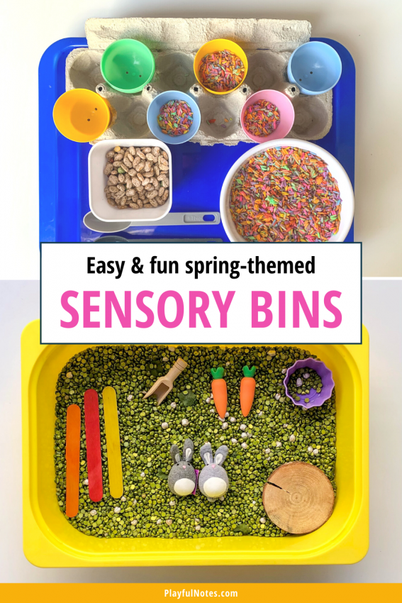Spring-themed sensory bins for kids Discover 12 easy and fun spring activities for kids that you can quickly prepare for your little ones! - Children's activities | Spring activity ideas