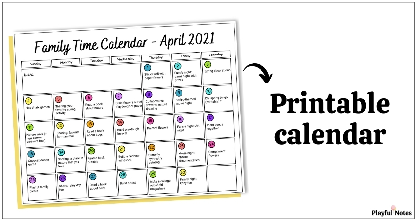 april activity calendar for kids printable calendar