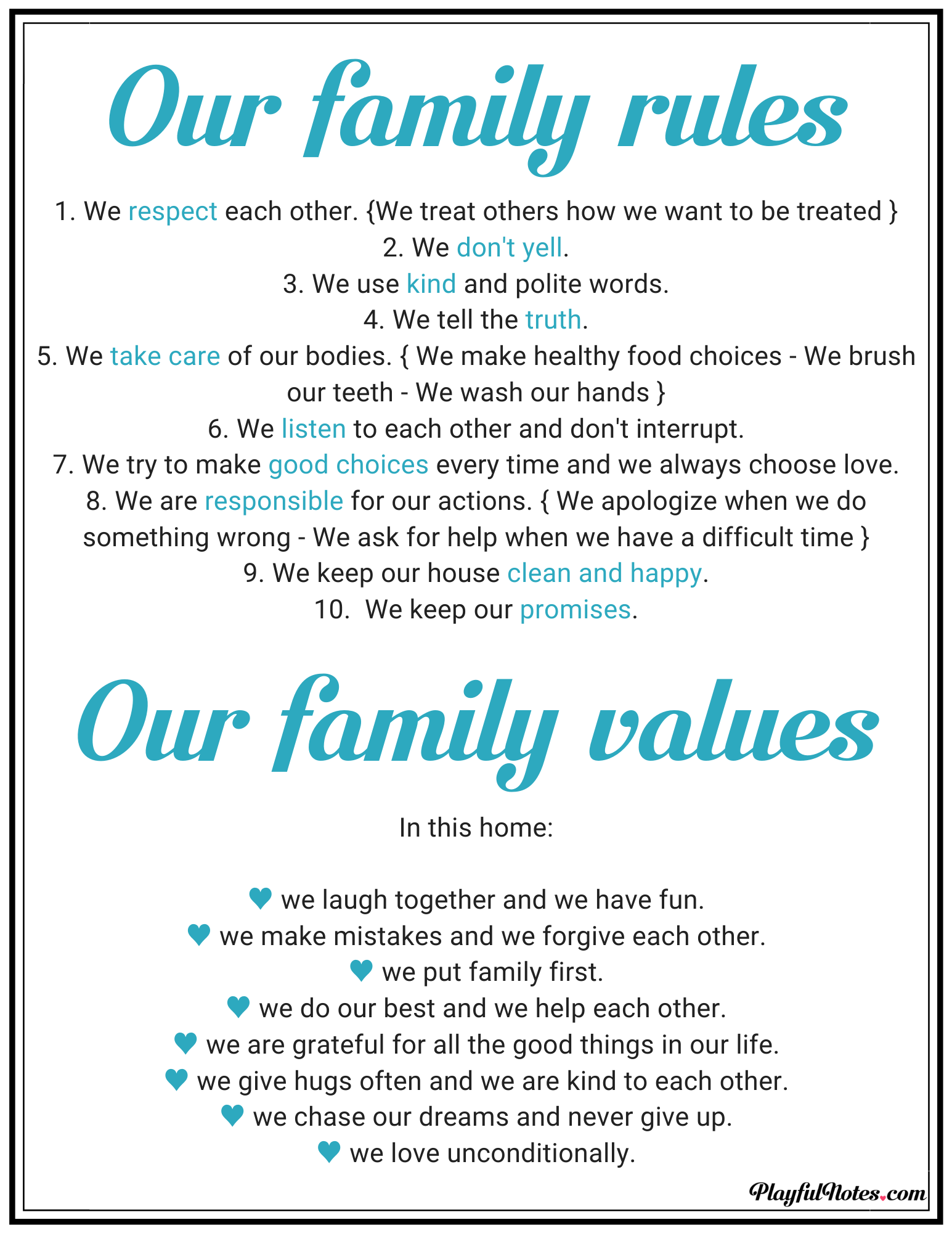 family rules - family values