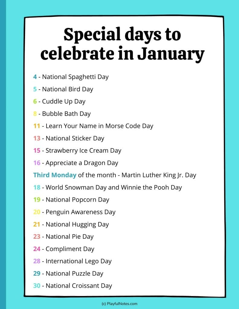list of fun holidays to celebrate in January