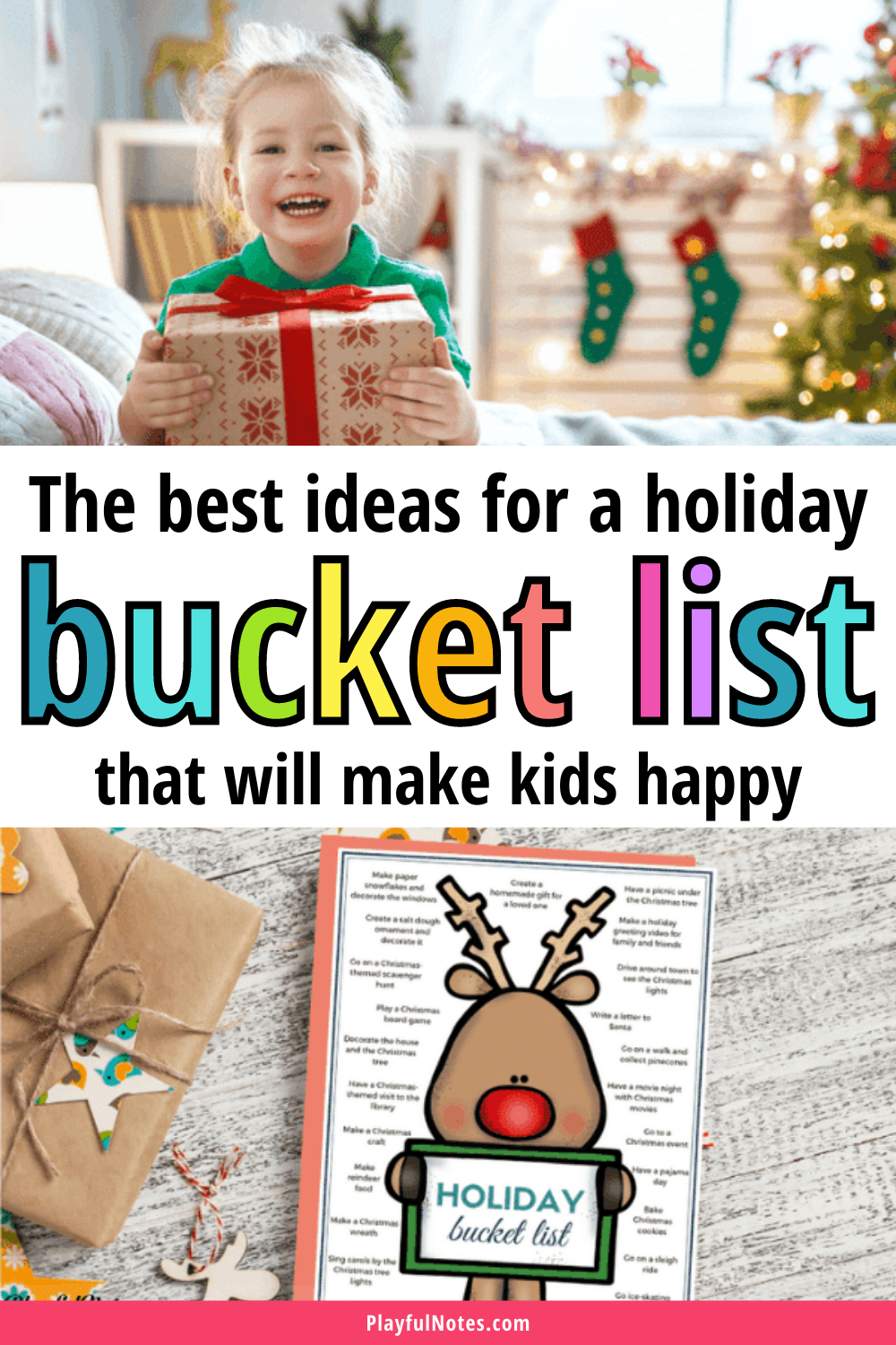 Discover a list of awesome ideas to add to your Christmas bucket list and download a printable file that will help you create a very cute bucket list for your family. --- Christmas bucket list for kids | Printable family bucket list | Christmas activities for families #Christmas