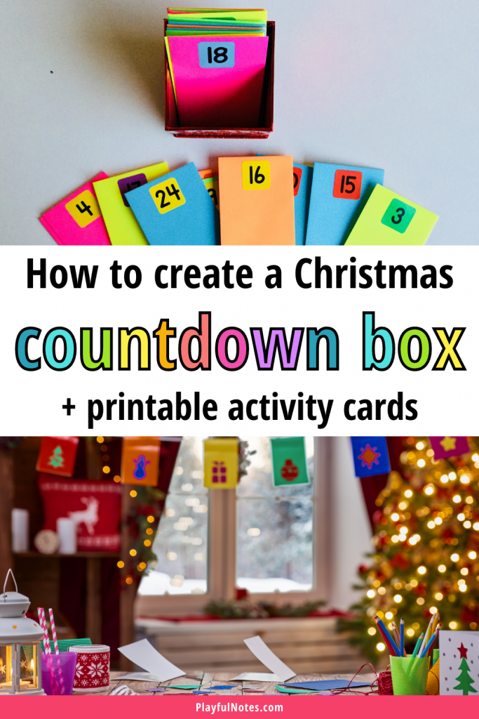 The Christmas countdown box is an easy and lovely way to plan fun family activities to enjoy with your kids before Christmas! Download the printable Christmas activity cards and create a Christmas countdown calendar for your kids!