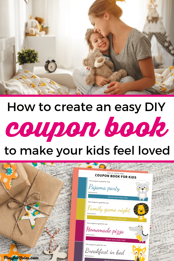 Discover an easy way to create an awesome gift for your child: a printable coupon book for kids that will make your child feel love and will help you build more connection with your little one! --- Printable coupons for kids | DIY coupon book | Homemade coupon book to give to your child | Gifts for children #CouponBook