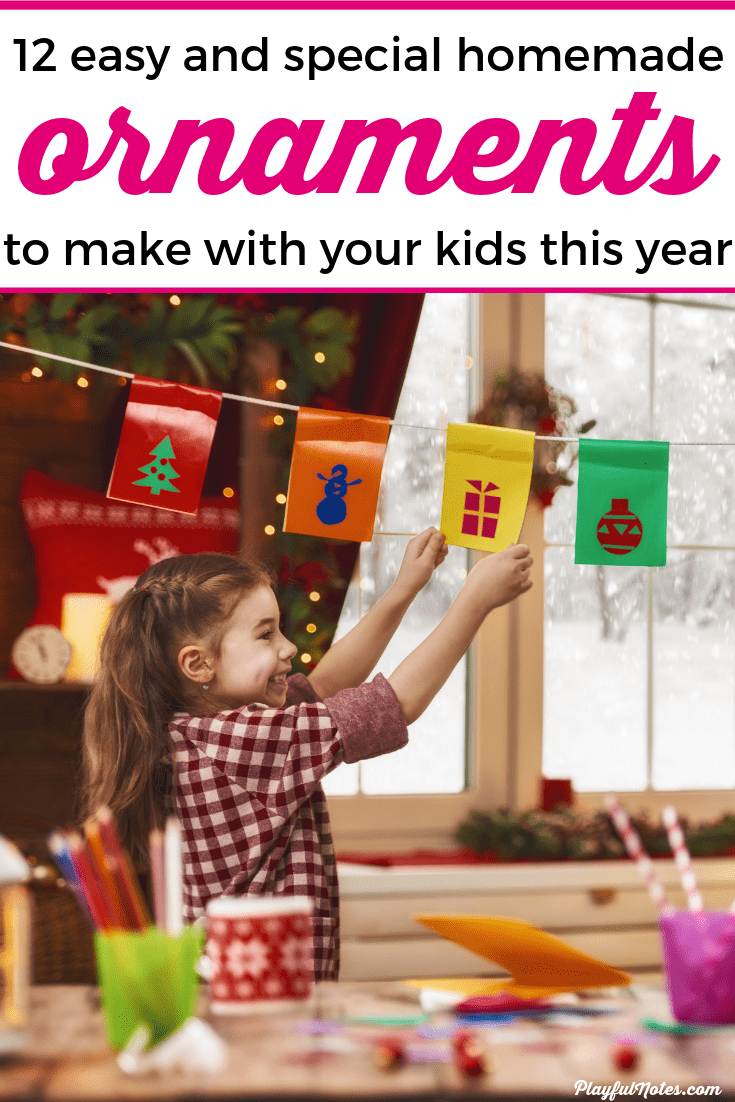 Discover an awesome list of 12 easy and special homemade ornaments for kids to try this year! They are easy to make and will certainly become precious memories for you and your kids. --- Christmas keepsakes for kids | Homemade ornaments to make with your kids | DIY Christmas ornaments for kids #Christmas