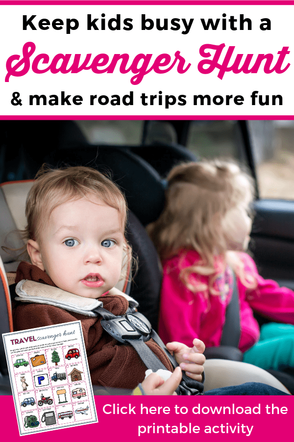 One of the best activities to keep kids busy during road trips is a road trip scavenger hunt! Download the printable and make road trips more fun for your kids. --- Travel activities for kids | Printable road trip scavenger hunt | Travel scavenger hunt for toddlers and preschoolers | Family vacations #FamilyTravel #FamilyVacations #TravelingWithKids