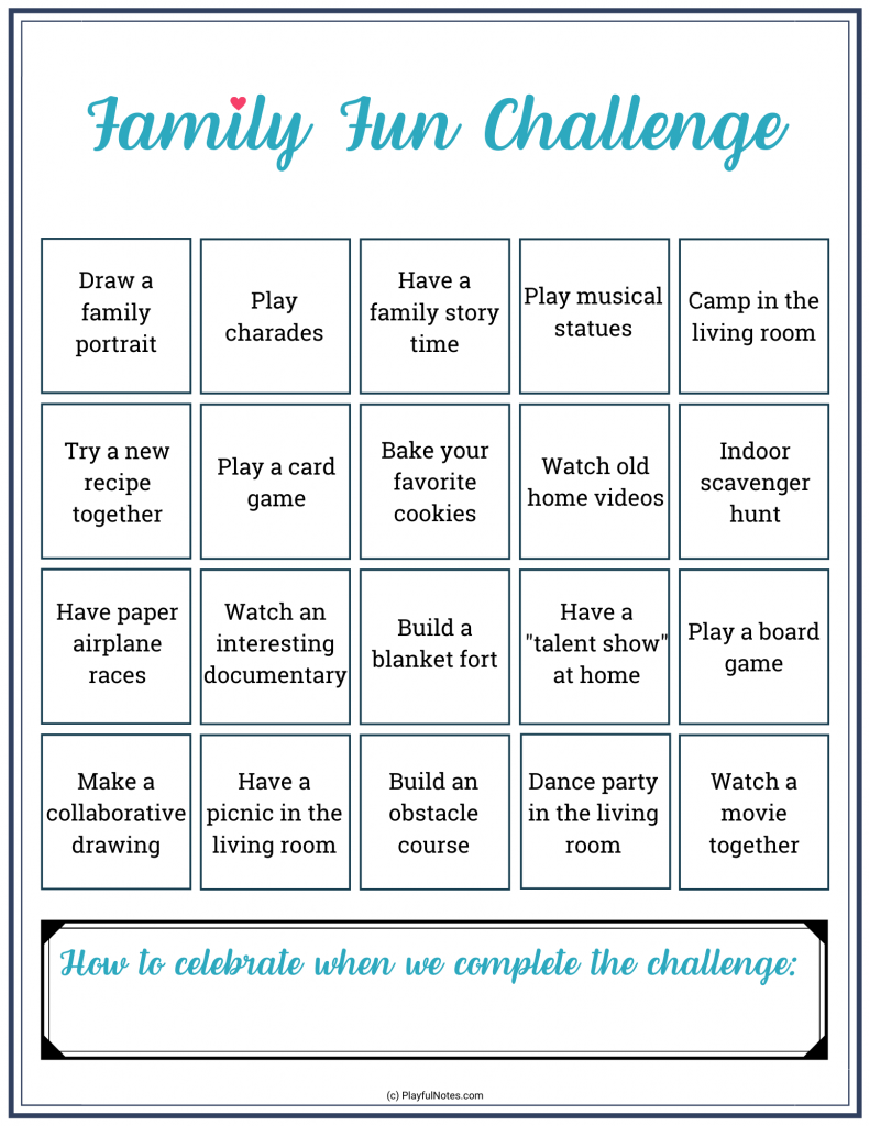 family fun challenge - ideas for fun family activities at home
