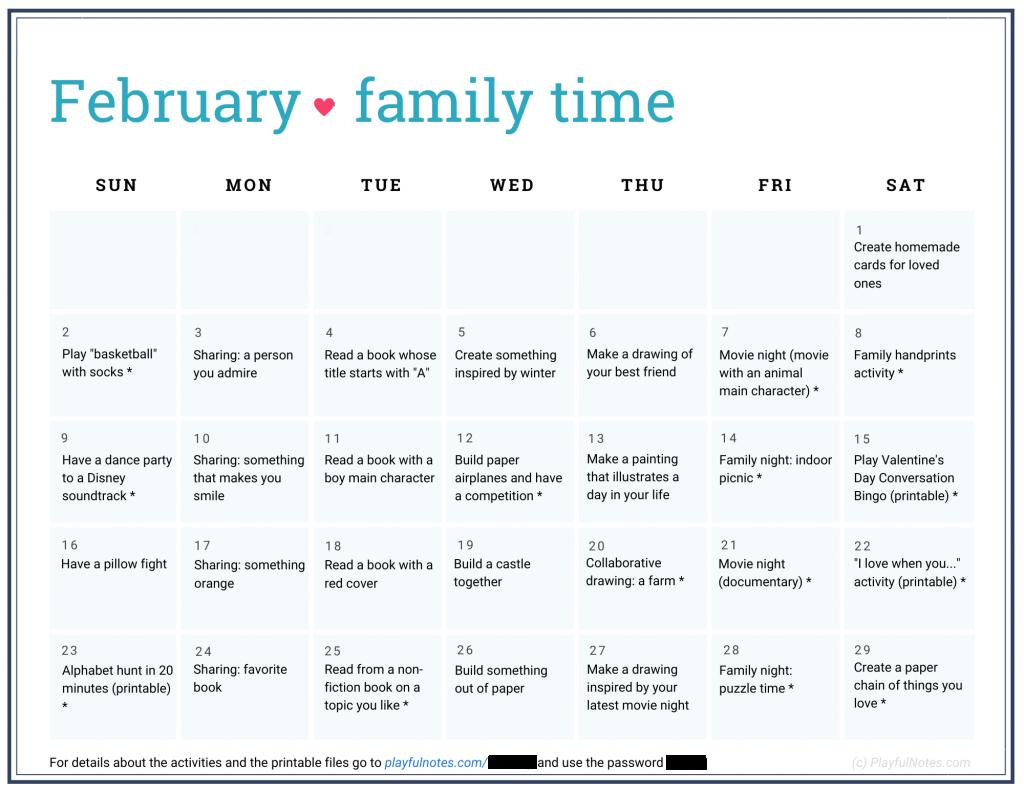 February family time calendar