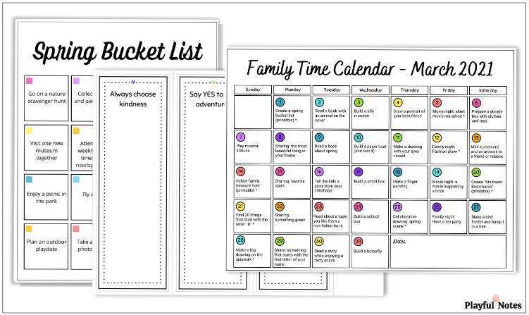 printable march activity calendar