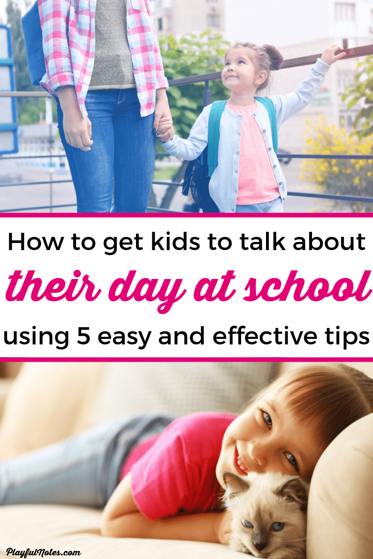 Do you want to get kids to tell you about their day at school and open up to you? Here are 5 easy and effective ways to make this happen! --- Positive parenting tips | Raising kids | Gentle parenting | Advice for moms #ParentingTips