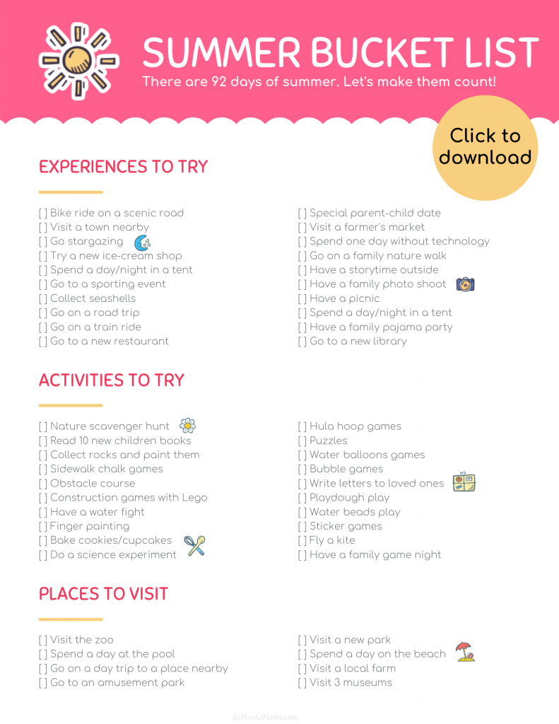 Download a printable summer bucket list for kids and plan a happy summer with your little ones!
