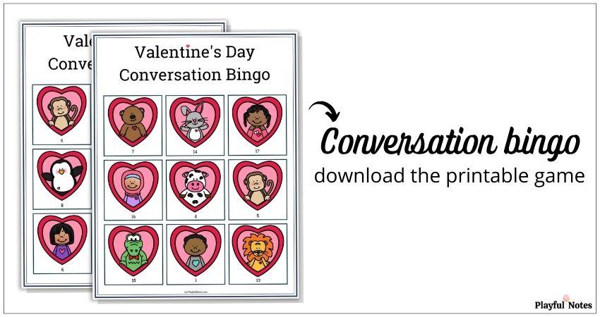Valentine's Day conversation bingo for kids