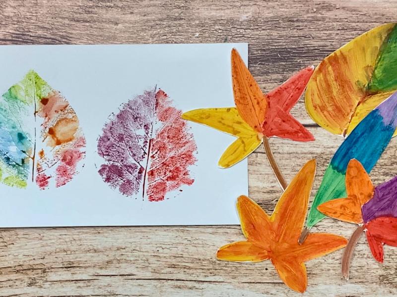 leaf print art activity for kids