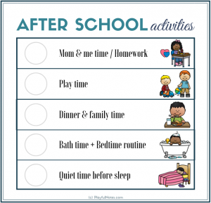 after school routine clock and schedule