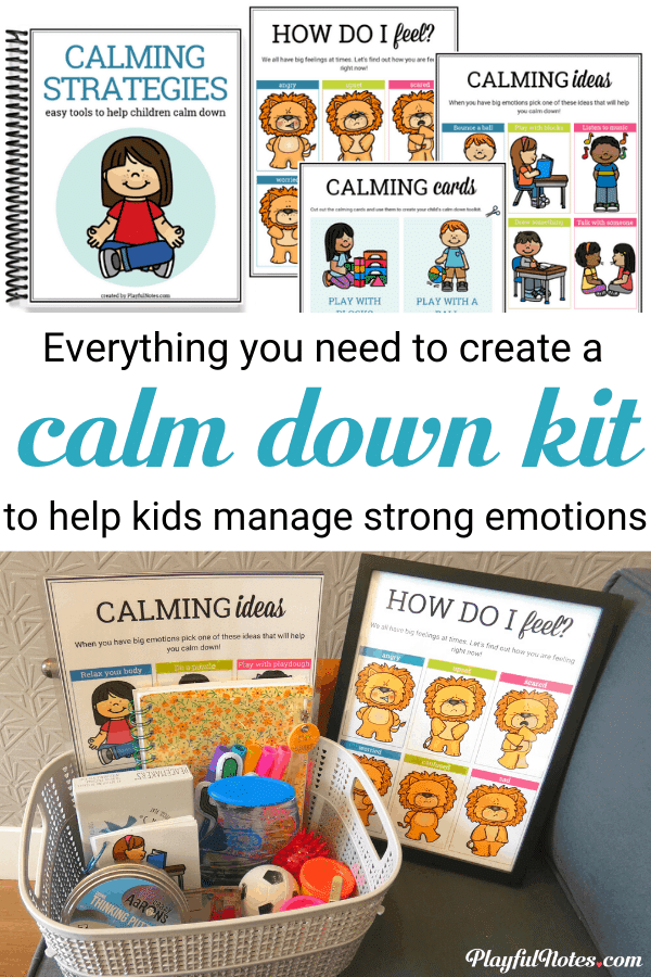 The calm down kit for kids: Discover the best way to help children calm down and manage strong emotions and download a set of printable calm down strategies for your child! --- Gentle parenting tips