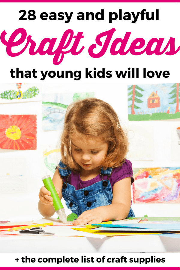 Check out these easy craft ideas for kids that little ones will love! They are great for toddlers and preschoolers and you'll also get a full list of craft supplies that are perfect for young kids! --- Craft ideas for toddlers   Crafts for kids   Craft activities for preschoolers #ActivitiesForKids #ToddlerActivities #PreschoolActivities