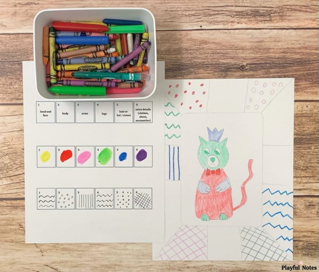 drawing games for kids roll a character game
