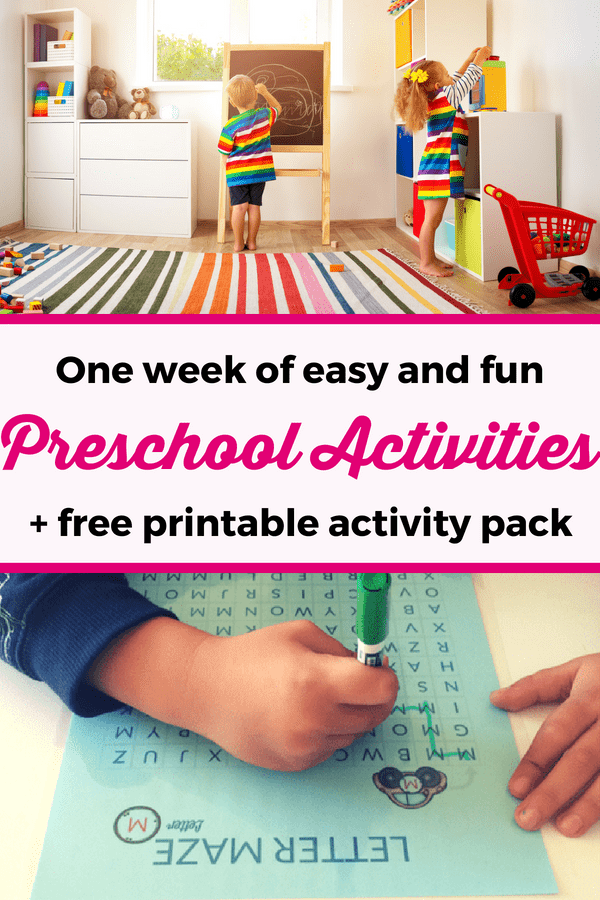 Preschool activities: Here is a list of fun and easy activities for preschoolers for one week of inspiration! You'll find here all the activity ideas that we used this week, plus a printable activity pack for you to download and use with your kids! | Home Preschool | Printable activities for preschoolers | Activities for 3 year olds | Preschool activities at home #ActivitiesForPreschoolers #PreschoolActivities