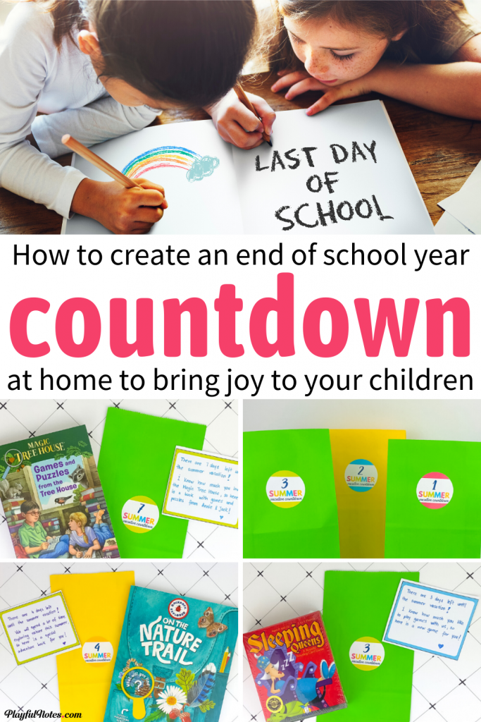 How to easily create an end of school countdown at home to bring joy to your kids: Each of the countdown bags includes little end of school year gifts for kids and are perfect for celebrating the end of the school year at home!