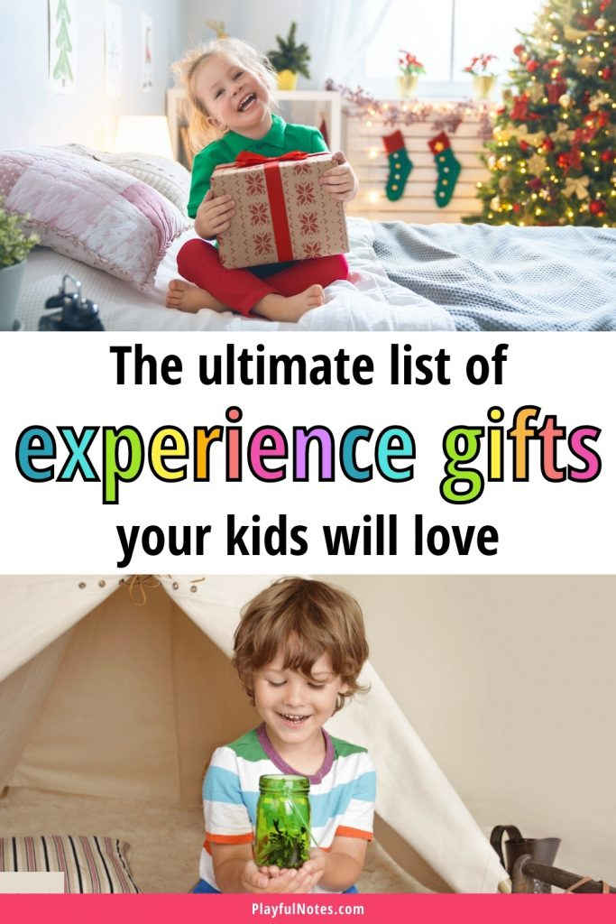 An awesome list of experience gifts for kids that will make them happy and help you build happy memories together