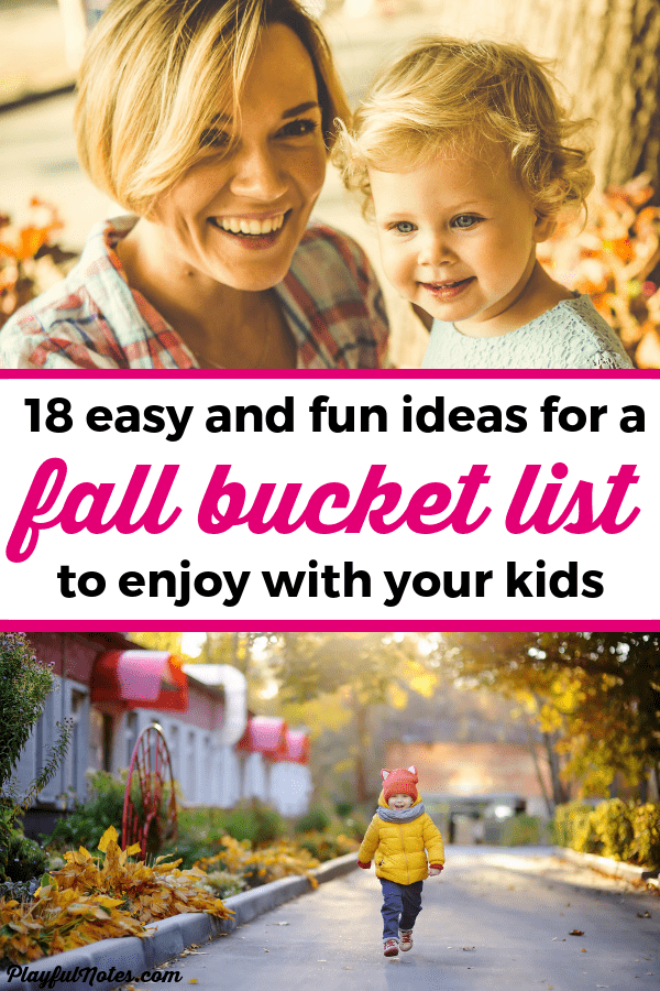 Create your fall bucket list and start enjoying these lovely activities! Check out a list of 18 easy and fun fall activities that will bring many happy family moments! They are great for families with toddlers and preschoolers. --- Fall activities for families | Fall activities for toddlers | Fall bucket list | Fall activities for kids #BucketList #FallActivities #FamilyLife #FamilyFun