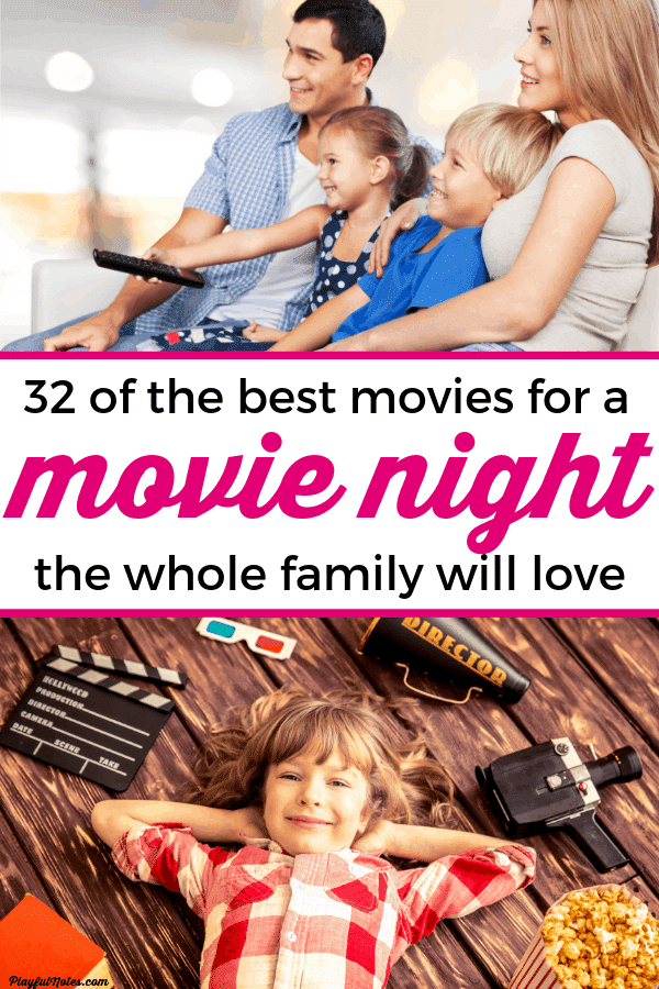 Find some great inspiration for your next family movie night with this list of 32 movie ideas the whole family will love! --- Family fun | Family life | Family night ideas | Disney movie ideas #FamilyLife #FamilyFun