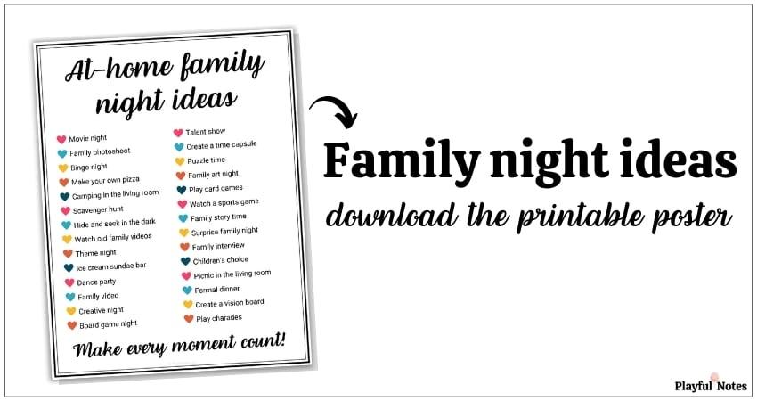 family night ideas printable poster