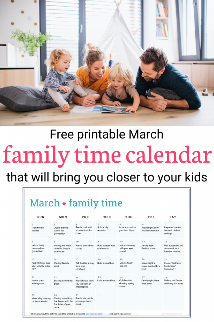 Download the printable family time calendar and enjoy easy and fun family activities that will bring you closer to your kids! --- Family life