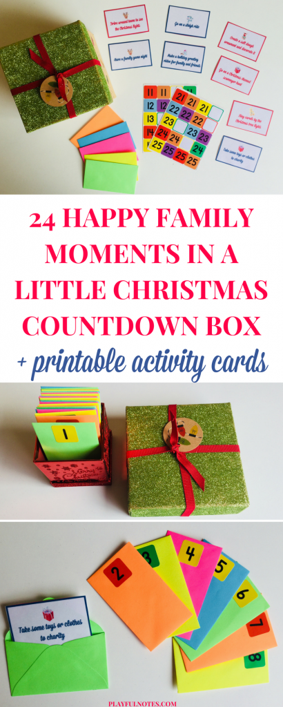 The Christmas countdown box is an easy and nice way to store your Advent calendar ideas and plan a happy family moment for every day before Christmas. | Advent calendar ideas | Christmas countdown activities for kids | Printable Advent calendar #ChristmasForKids