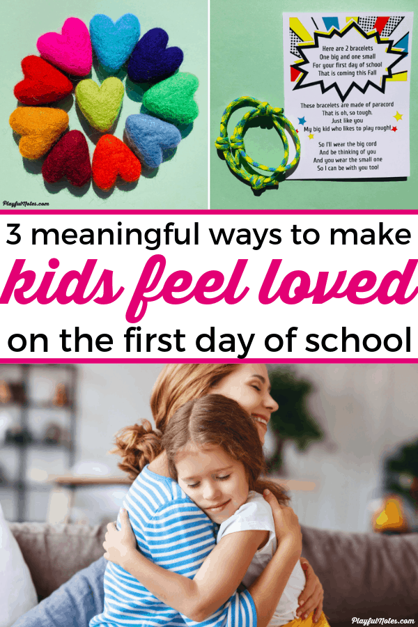 The first day of school can bring a lot of strong emotions for kids. Here are 3 lovely and meaningful first day of school gifts that will make them feel loved and calm their fears and worries! --- First day jitters | Back to school anxiety | Advice for moms
