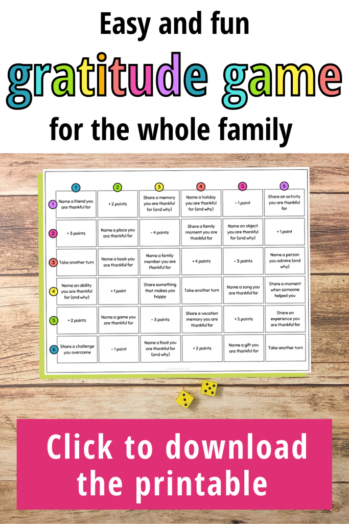 This easy and fun gratitude game is great for connecting as a family and teaching kids about gratitude.