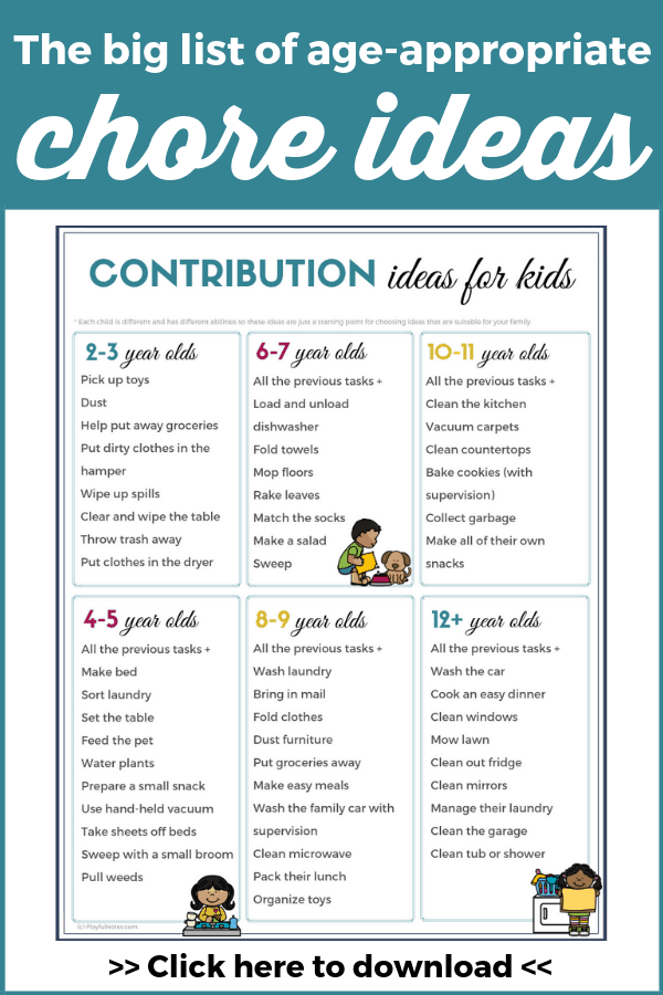Download the printable chore list for kids and start motivating kids to help around the house! You'll get more help with household tasks and your kids will become more independent and responsible!