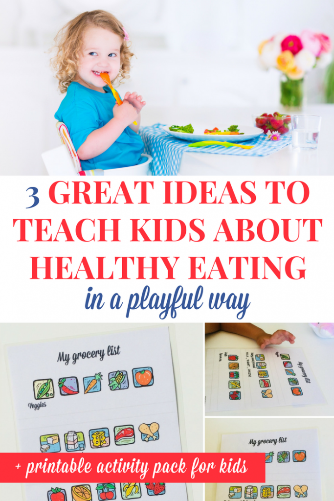Teaching kids about healthy eating: I've gathered here 3 healthy eating activities for kids (and a printable activity pack) that will help them learn about healthy choices in a playful way! | Healthy eating activities for toddlers and preschoolers #ActivitiesForKids