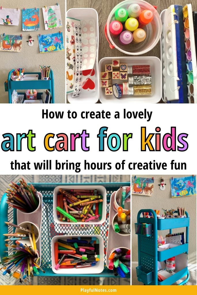 Creating an art cart for kids is a great way to encourage independence and creativity! It will bring your kids hours of creative fun, and it will make cleaning up and keeping art supplies organized a lot easier for you!