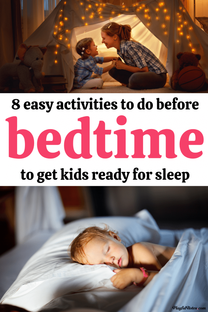 If you are dealing with power struggles at bedtime, these 8 easy activities will help kids relax and prepare for bedtime in a peaceful way!