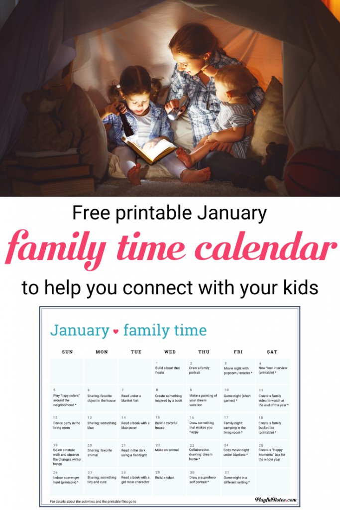 Make the most of every day with your kids with this printable Family Time Calendar for January! This family activity calendar includes easy family fun ideas that will bring you closer to your kids and help you build a happy family life! --- Activity calendar ideas for kids