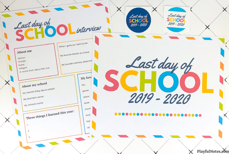 printable last day of school interview and sign 2020