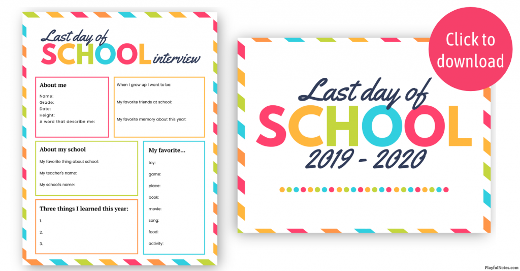 printable last day of school interview 2020