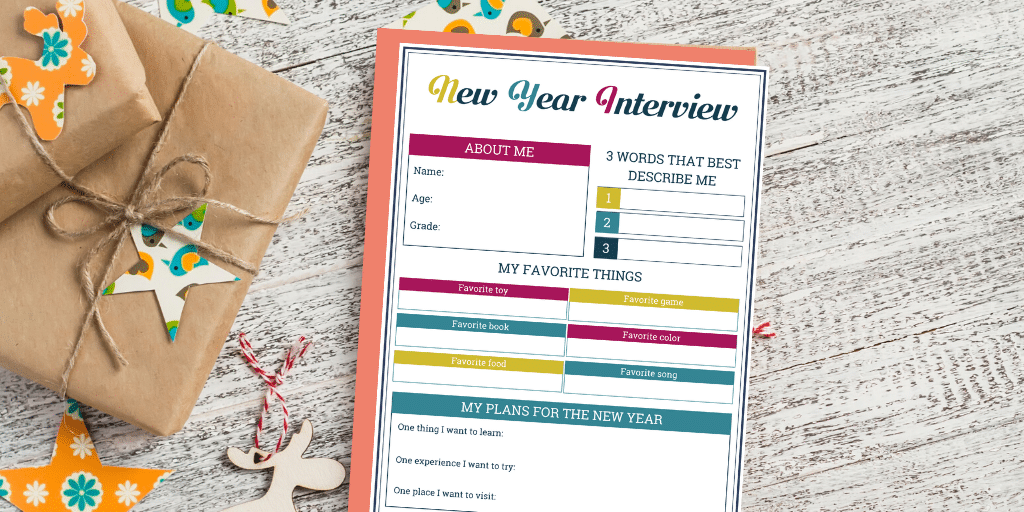 A New Year interview for kids can be a wonderful way to capture precious memories! You can download here our printable New Year interview and start this lovely tradition with your children! --- Printable New Year interview for children | Time capsule ideas | Family traditions for New Year #RaisingKids #FamilyLife