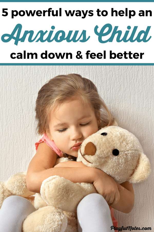 Check out these 5 magic phrases that will help you calm your anxious child and provide them the support they need to overcome anxiety! You can also download a printable list of tips for helping children deal with anxiety. --- Parenting an anxious child | Anxiety activities for kids | How to calm down an anxious child | Anxiety in children #PositiveParenting #ParentingTips #AnxietyInChildren