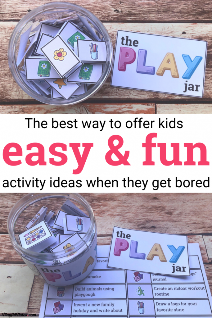 "Keep your kids entertained (and happy) at home without wasting time looking for activity ideas! No more ""Mom, I'm bored!"" or ""What can I play now?"" - Your kids will have plenty of ideas to choose from! All you need is a jar (or a box) and these lovely printable activity ideas for kids. -- Indoor activities for kids 