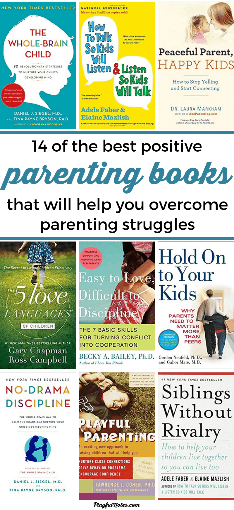 Discover a list of 14 of the best positive parenting book that will help you raise happy and confident kids and overcome parenting challenges easier! --- Parenting books for moms | Parenting tips #Parenting