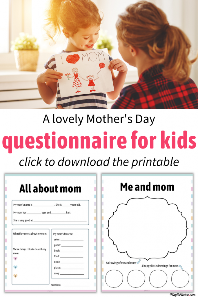 Download a lovely printable Mother's Day questionnaire for kids that will become a cherished memory for years to come! --- Children activities for Mother's Day