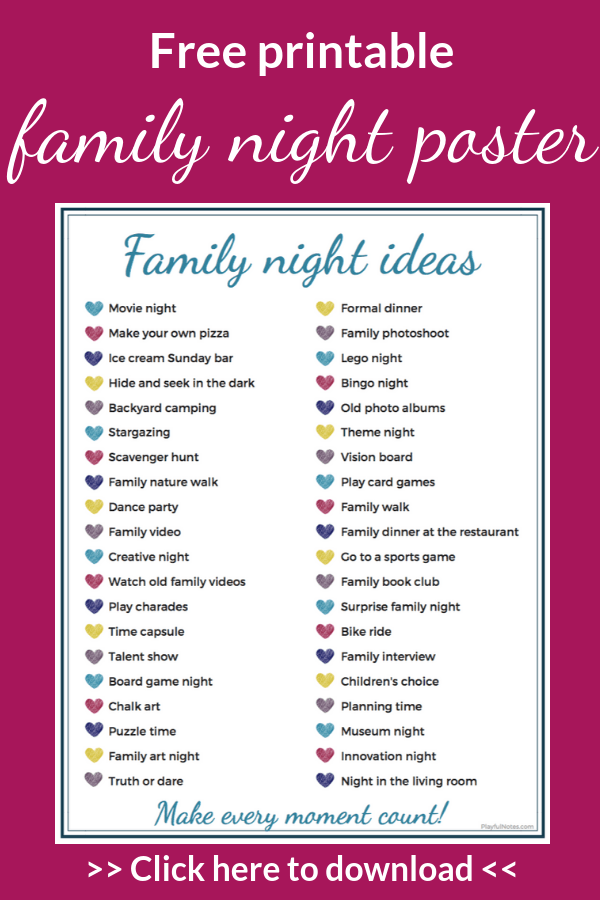 Download this family night poster and enjoy 40 easy and fun date night ideas to enjoy with your kids! --- Family night ideas | Family night with toddlers | Family night activities | Family night at home | Family life | Family fun #Parenting #FamilyLife