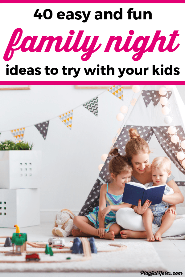 Discover a list of awesome family night ideas that you can enjoy with children all ages, from toddlers to teens! These ideas for perfect for building connection and having fun together! --- Family night ideas | Family night with toddlers | Family night activities | Family night at home | Family life | Family fun #Parenting #FamilyLife