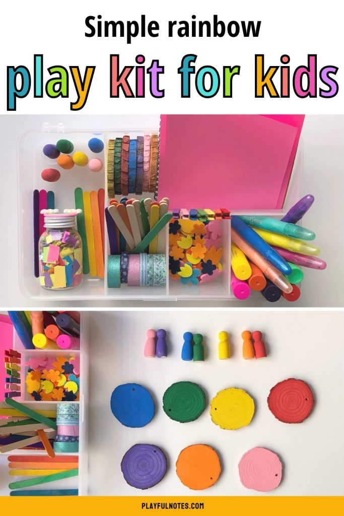 Simple rainbow play kit for kids: A lovely idea that encourages creativity and independent play.